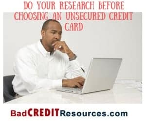 bad credit credit cards unsecured