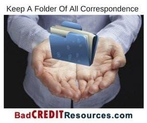 credit dispute letter file folder