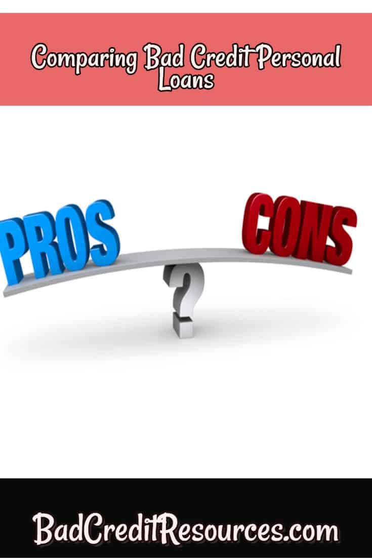the pros and cons of the different bad credit personal loan options